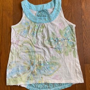 Watercolor sequin butterfly lace back tank size 10
